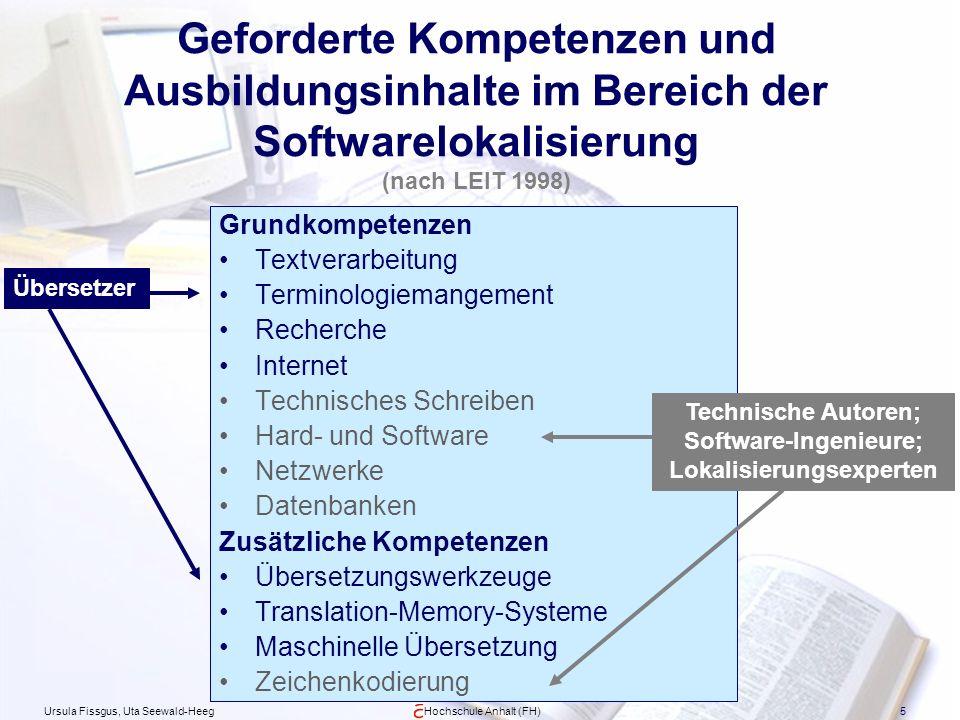 Ursula Fissgus, Uta Seewald-HeegHochschule Anhalt (FH)5 Geforderte Kompetenzen und Ausbildungsinhalte im Bereich der Softwarelokalisierung (nach LEIT