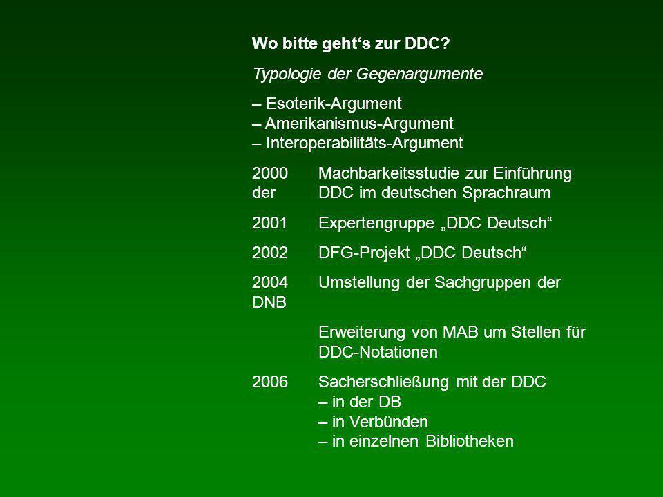 Wo bitte gehts zur DDC? Typologie der Gegenargumente – Esoterik-Argument – Amerikanismus-Argument – Interoperabilitäts-Argument 2000Machbarkeitsstudie