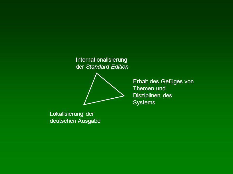 Internationalisierung der Standard Edition Lokalisierung der deutschen Ausgabe Erhalt des Gefüges von Themen und Disziplinen des Systems