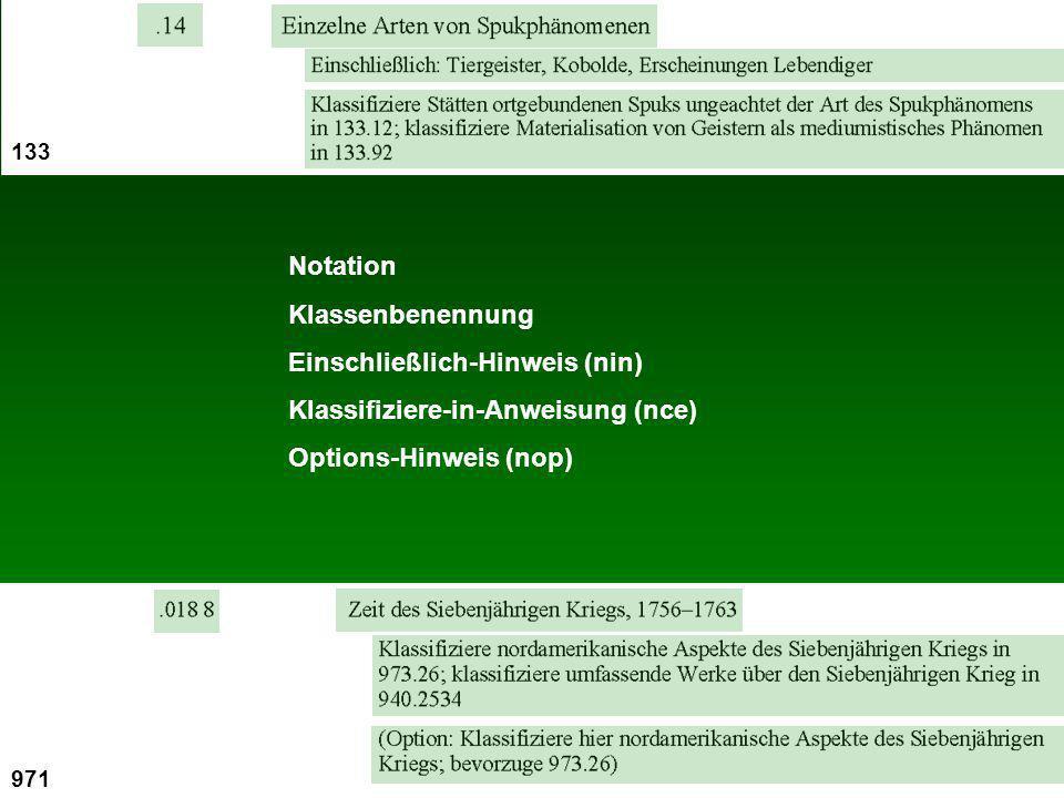 Notation Klassenbenennung Einschließlich-Hinweis (nin) Klassifiziere-in-Anweisung (nce) Options-Hinweis (nop) 133 971