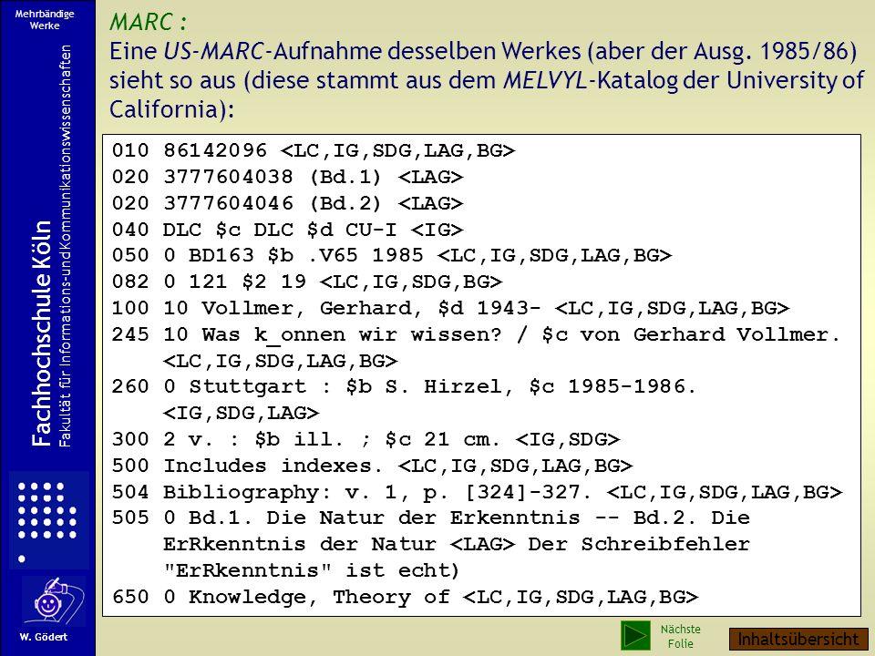 MARC : Eine US-MARC-Aufnahme desselben Werkes (aber der Ausg.