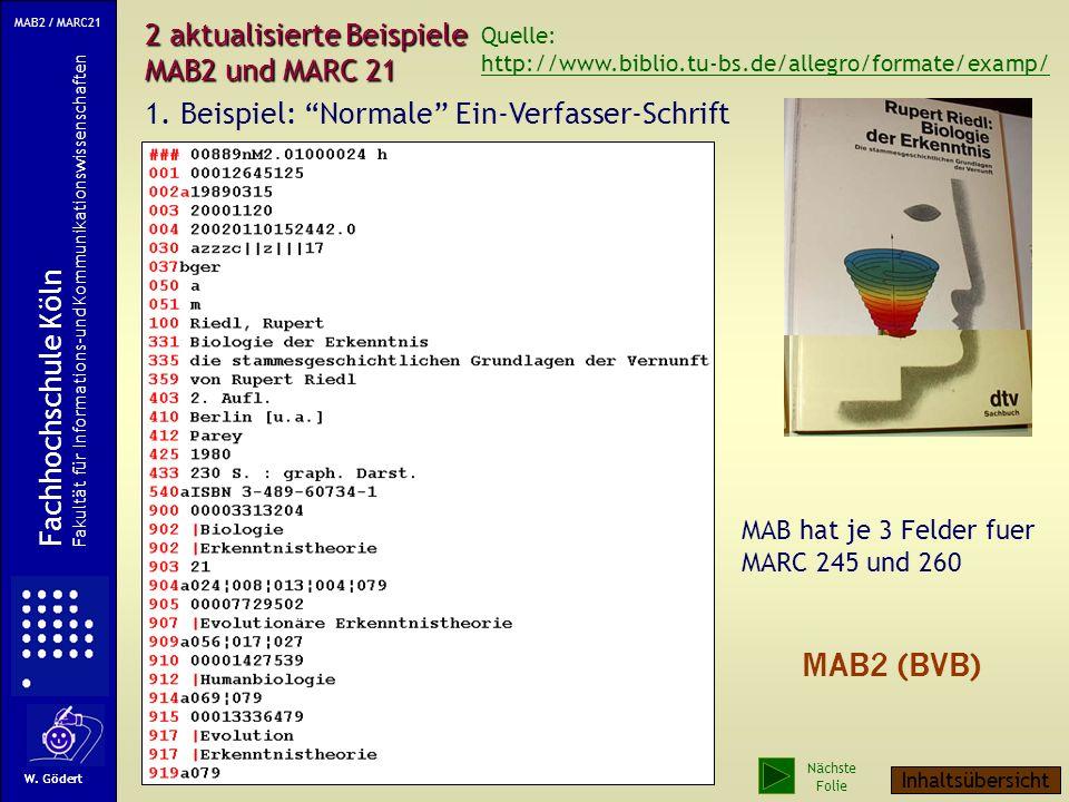 2 aktualisierte Beispiele MAB2 und MARC 21 1.