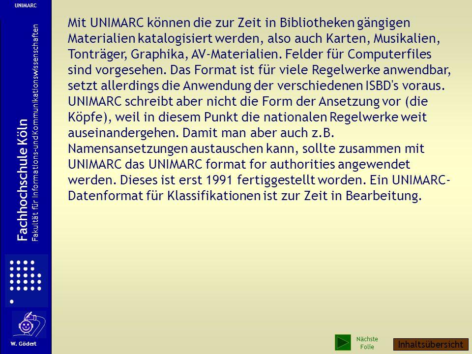 Ab Mitte der 70er Jahre begann die IFLA das Austauschformat UNIMARC zu entwickeln. Es sollte die Voraussetzung für ein internationales MARC-Netzwerk s