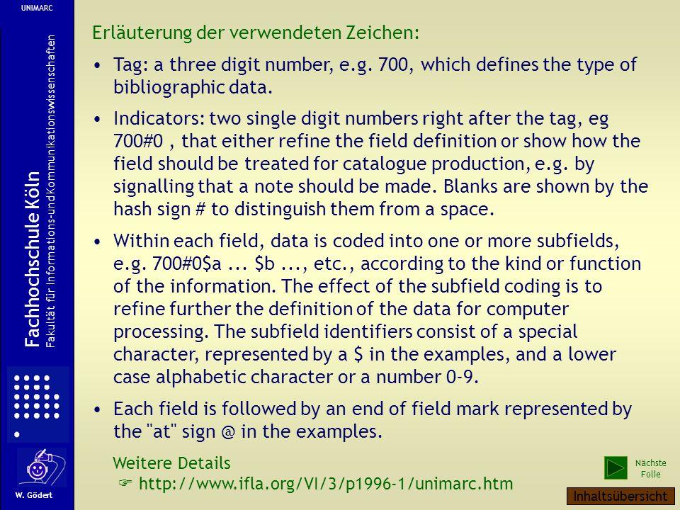 Erläuterung der verwendeten Zeichen: Tag: a three digit number, e.g.