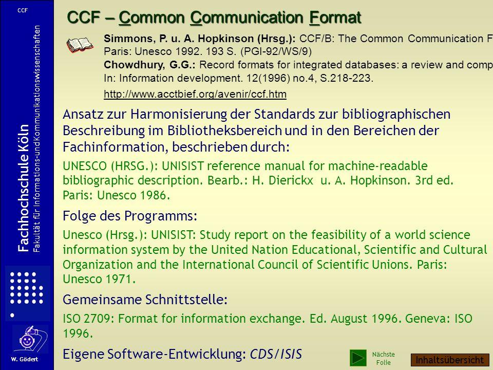 CCF – Common Communication Format Simmons, P.u. A.