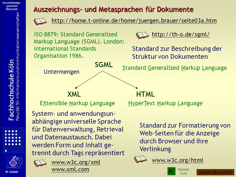 Auszeichnungs- und Metasprachen für Dokumente SGML XMLHTML ISO 8879: Standard Generalized Markup Language (SGML).