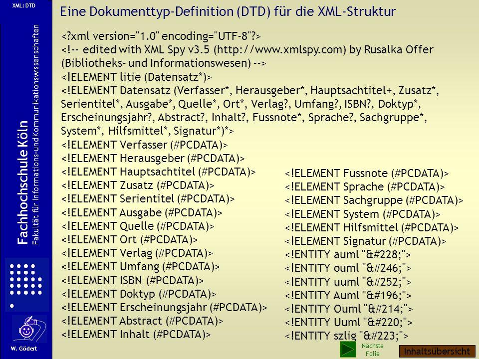 Eine Dokumenttyp-Definition (DTD) für die XML-Struktur W.