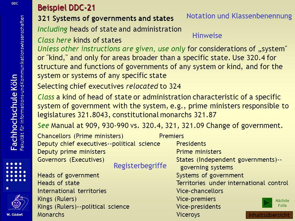 Als weiteres Beispiel sei die Dewey Decimal Classification angegeben. Diese liegt seit der 21. Auflage bei OCLC in der Arbeitsdatenbank im XML-Format