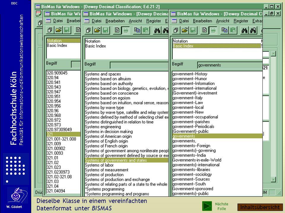 Dieselbe Klasse in einem vereinfachten Datenformat unter BISMAS W.