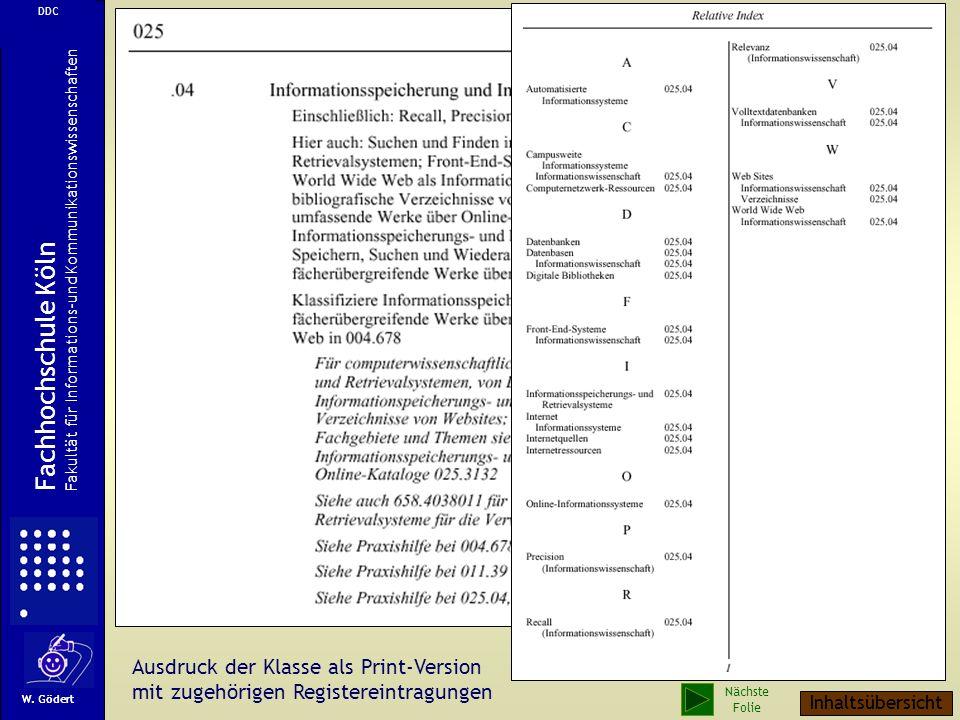 Ausdruck der Klasse als Print-Version mit zugehörigen Registereintragungen W.