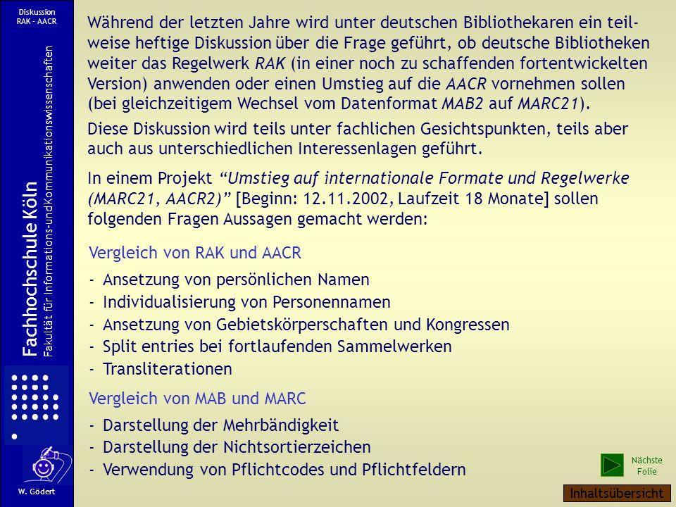 Ausdruck der Klasse als Print-Version mit zugehörigen Registereintragungen W. Gödert Fachhochschule Köln Fakultät für Informations-und Kommunikationsw