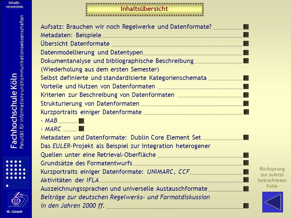 Datenmodellierung, Datenformate und Datenaustausch Zielsetzung und Probleme Realisierung und Anwendungen WS 2003/2004 W. Gödert Dieses Teilgebiet verm