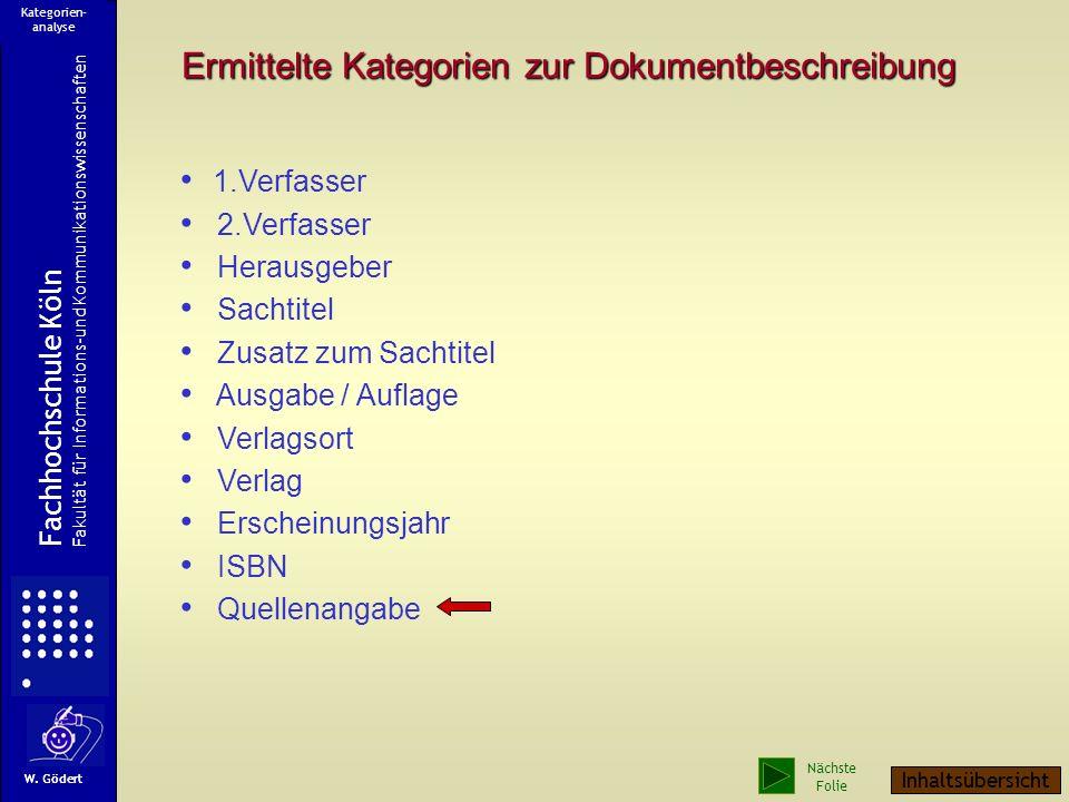 Einzelne (enthaltene) Beiträge Ein Sammelwerk Fachhochschule Köln Fakultät für Informations-und Kommunikationswissenschaften W. Gödert Kategorien- ana