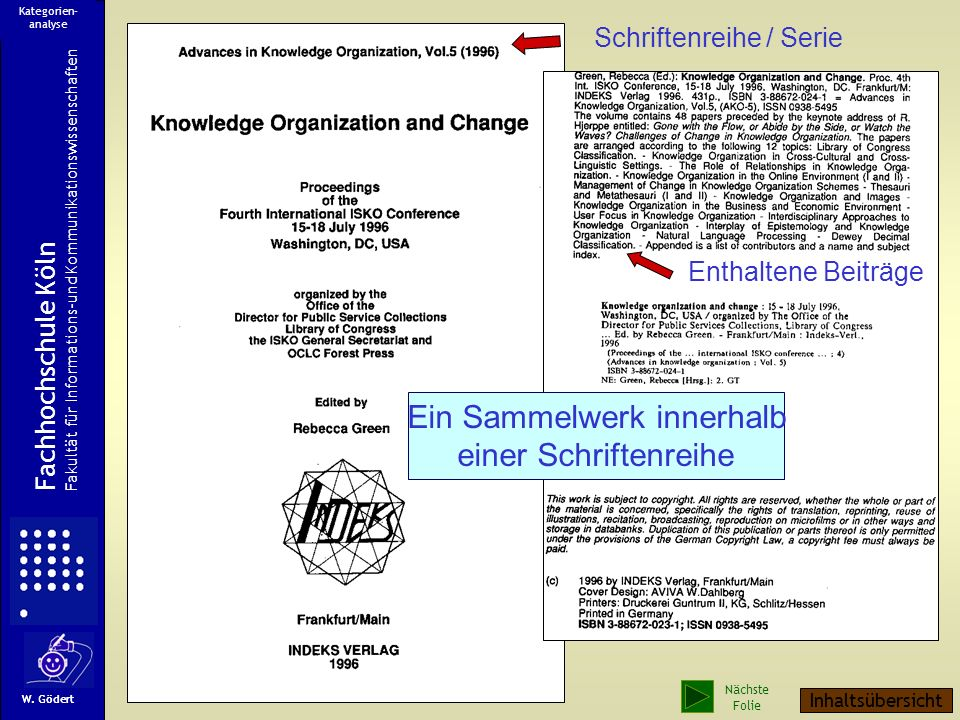 Schriftenreihe / Serie Enthaltene Beiträge Fachhochschule Köln Fakultät für Informations-und Kommunikationswissenschaften W.