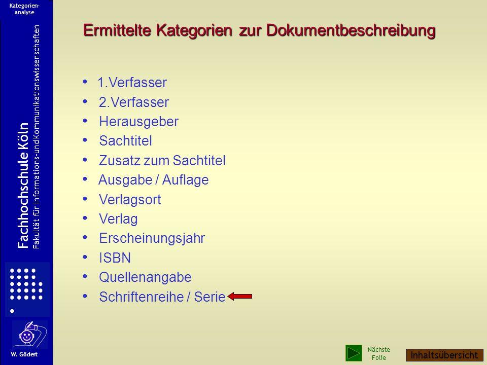 Schriftenreihe / Serie Enthaltene Beiträge Fachhochschule Köln Fakultät für Informations-und Kommunikationswissenschaften W. Gödert Kategorien- analys