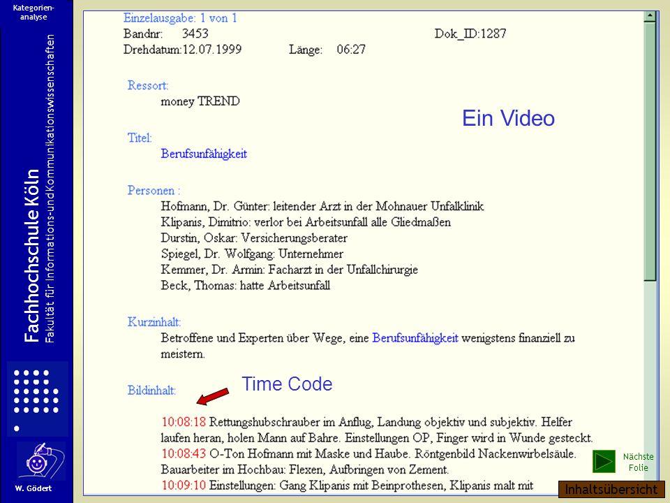 Time Code Ein Video Fachhochschule Köln Fakultät für Informations-und Kommunikationswissenschaften W.