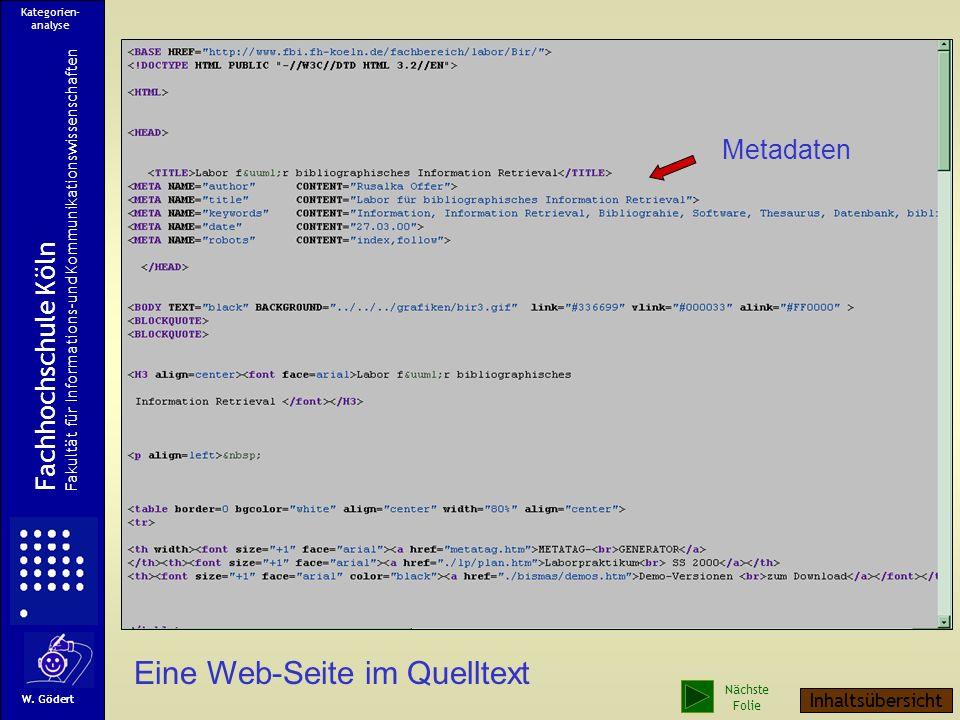 Eine Web-Seite Fachhochschule Köln Fakultät für Informations-und Kommunikationswissenschaften W. Gödert Kategorien- analyse Nächste Folie Inhaltsübers