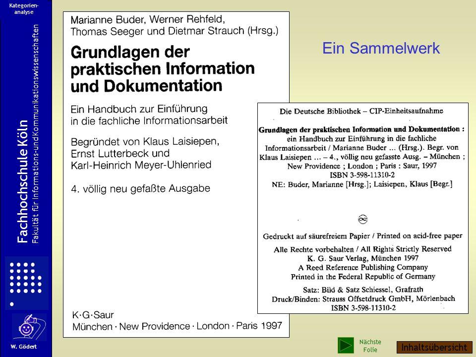 Ein Sammelwerk Fachhochschule Köln Fakultät für Informations-und Kommunikationswissenschaften W.