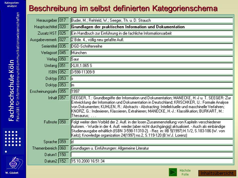 Ein Sammelwerk Fachhochschule Köln Fakultät für Informations-und Kommunikationswissenschaften W. Gödert Kategorien- analyse Nächste Folie Inhaltsübers