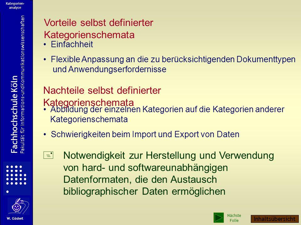 Beschreibung im selbst definierten Kategorienschema Fachhochschule Köln Fakultät für Informations-und Kommunikationswissenschaften W. Gödert Kategorie