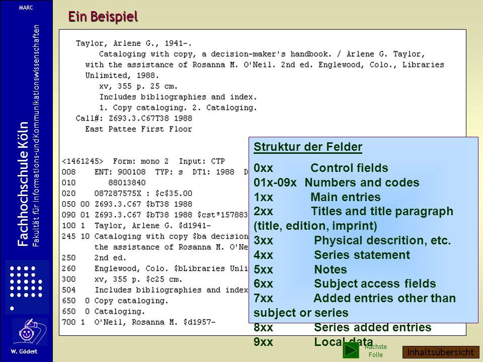 Ein Beispiel Struktur der Felder 0xx Control fields 01x-09x Numbers and codes 1xx Main entries 2xx Titles and title paragraph (title, edition, imprint) 3xx Physical descrition, etc.