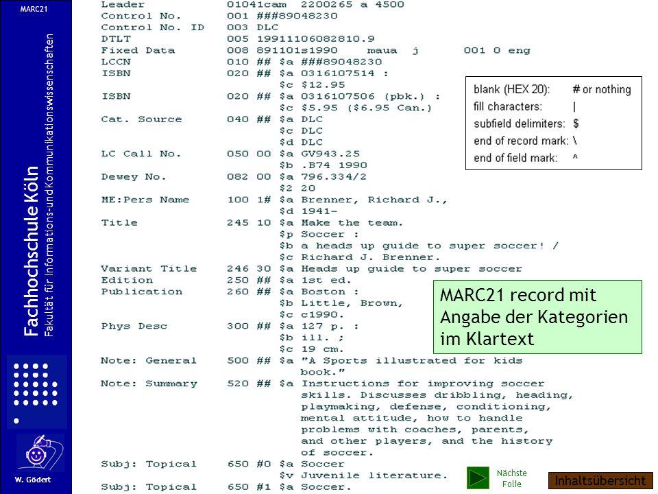 Ein Beispiel im MARC21-Format MARC21 Fachhochschule Köln Fakultät für Informations-und Kommunikationswissenschaften W. Gödert Nächste Folie Inhaltsübe