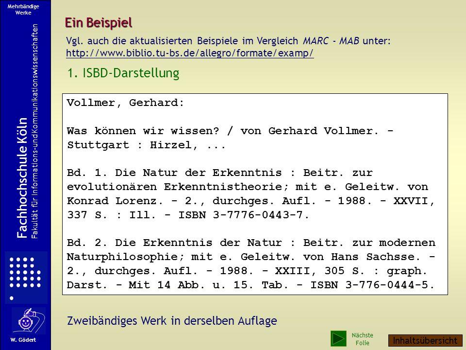 Ein Beispiel 1.ISBD-Darstellung Vollmer, Gerhard: Was können wir wissen.