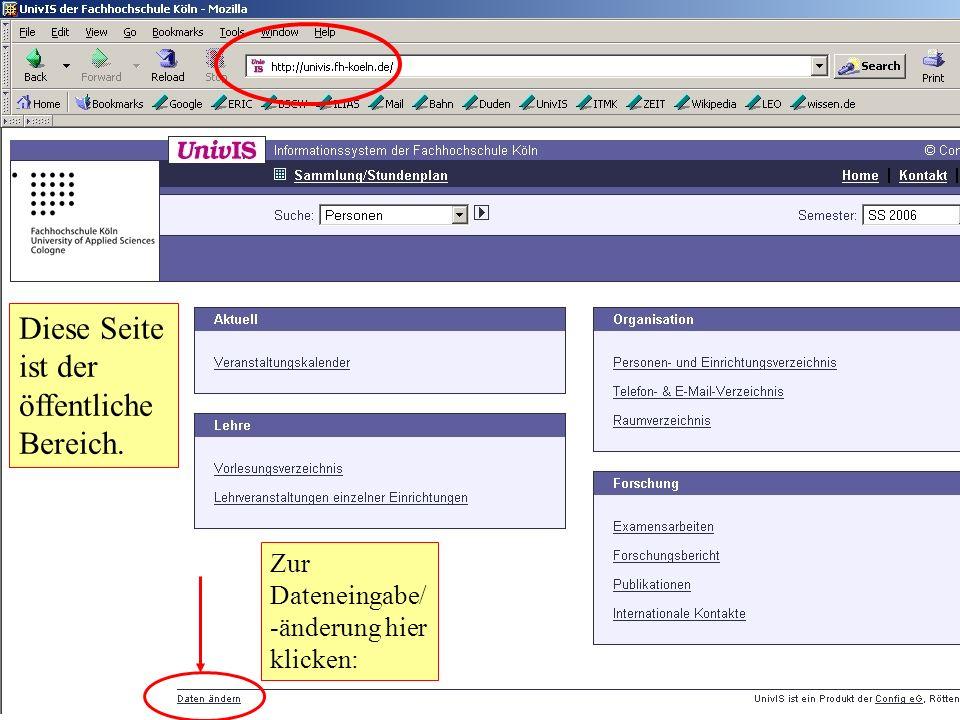 Darstellung auf der Webseite Ihre Inhalte werden aus Univis auf die Webseite übernommen