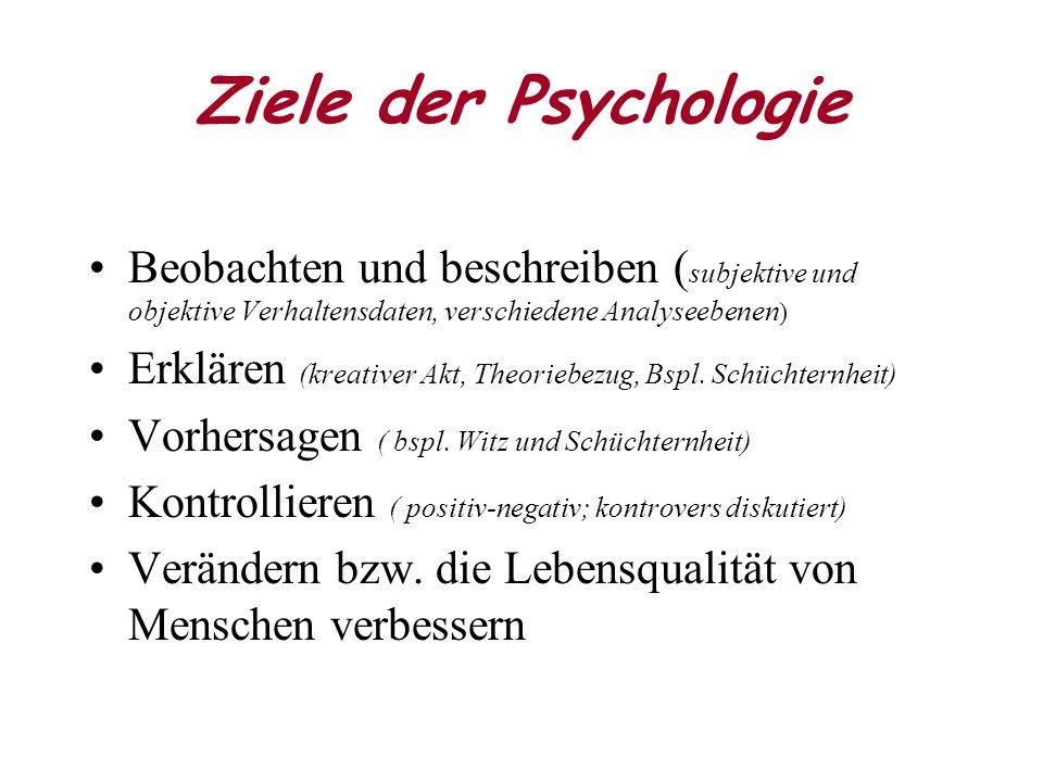 Ziele der Psychologie Beobachten und beschreiben ( subjektive und objektive Verhaltensdaten, verschiedene Analyseebenen ) Erklären (kreativer Akt, Theoriebezug, Bspl.