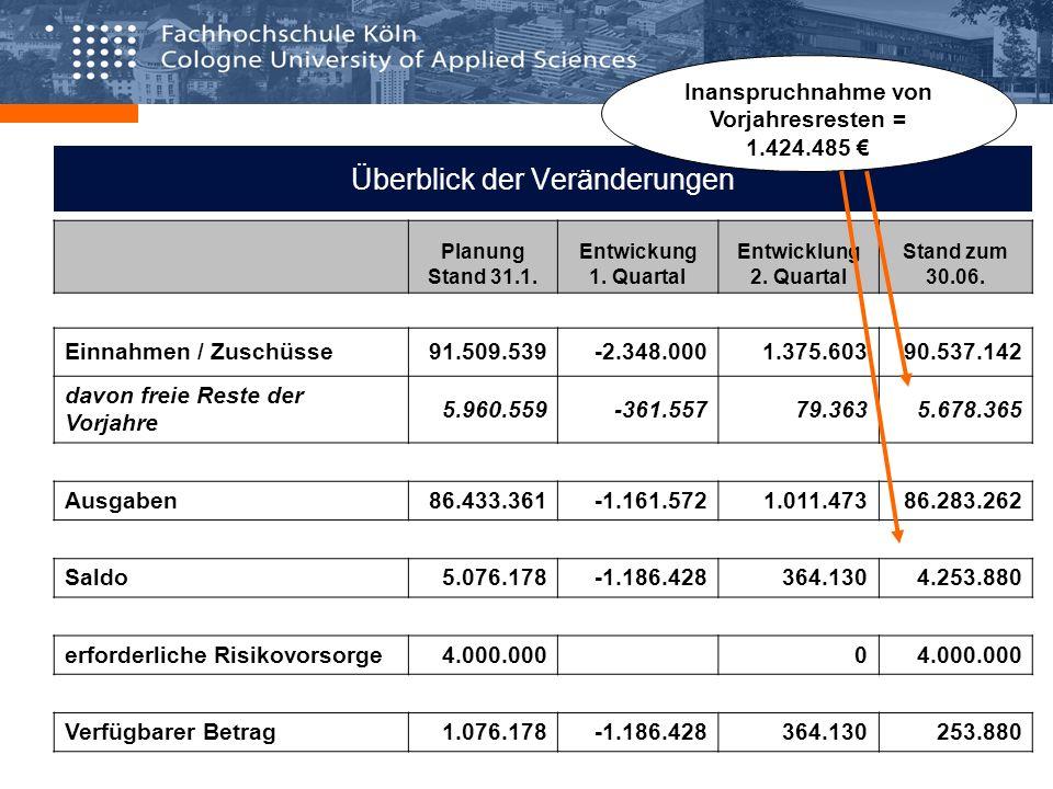 Überblick der Veränderungen Planung Stand 31.1. Entwickung 1. Quartal Entwicklung 2. Quartal Stand zum 30.06. Einnahmen / Zuschüsse91.509.539-2.348.00
