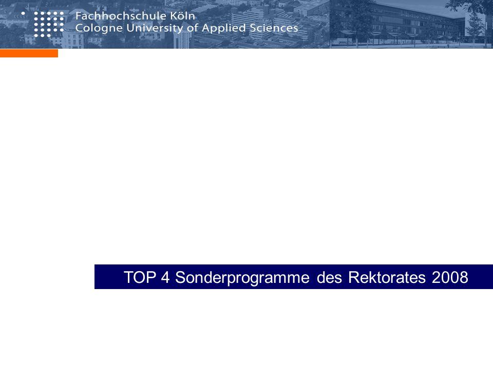 Rektoratsprogramme 2008 – Überblick – Sonderprogramme 2008 Investitionsplanung Forschungsförderung Drittmittelmittelprämie Forschungsprämie Schwerpunktförderung Anschubfinanzierung Internationalisierung Gleichstellungsförderung