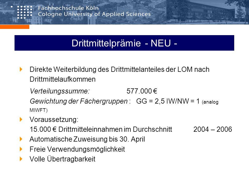 Drittmittelprämie - NEU - Direkte Weiterbildung des Drittmittelanteiles der LOM nach Drittmittelaufkommen Verteilungssumme: 577.000 Gewichtung der Fächergruppen : GG = 2,5 IW/NW = 1 (analog MIWFT) Voraussetzung: 15.000 Drittmitteleinnahmen im Durchschnitt 2004 – 2006 Automatische Zuweisung bis 30.