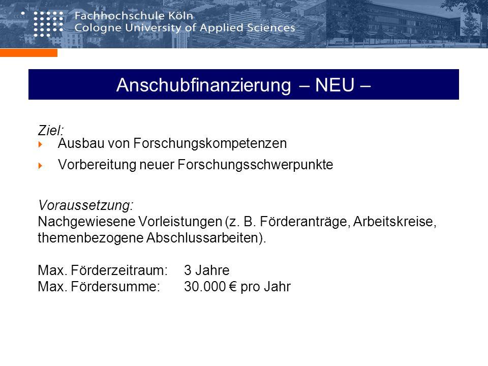 Anschubfinanzierung – NEU – Ziel: Ausbau von Forschungskompetenzen Vorbereitung neuer Forschungsschwerpunkte Voraussetzung: Nachgewiesene Vorleistungen (z.