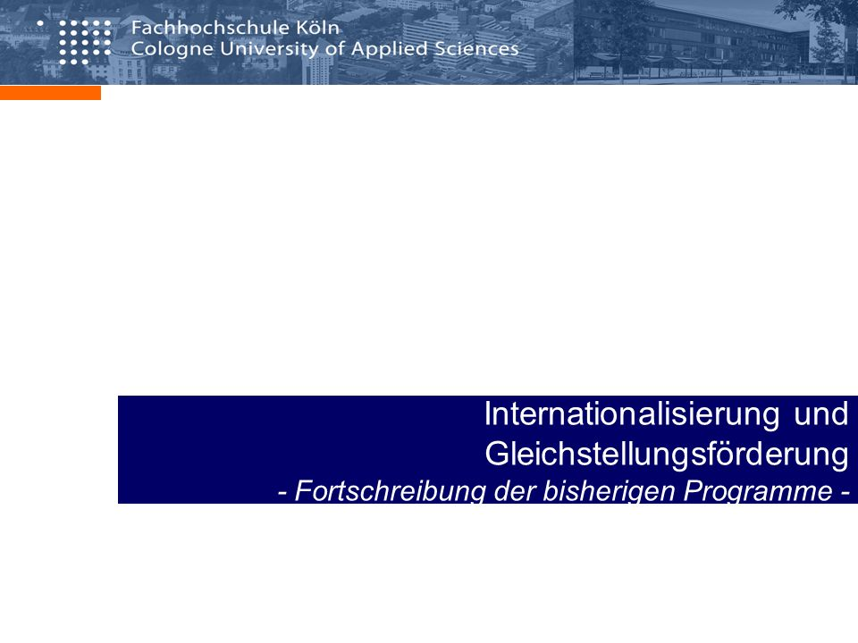 Internationalisierung und Gleichstellungsförderung - Fortschreibung der bisherigen Programme -