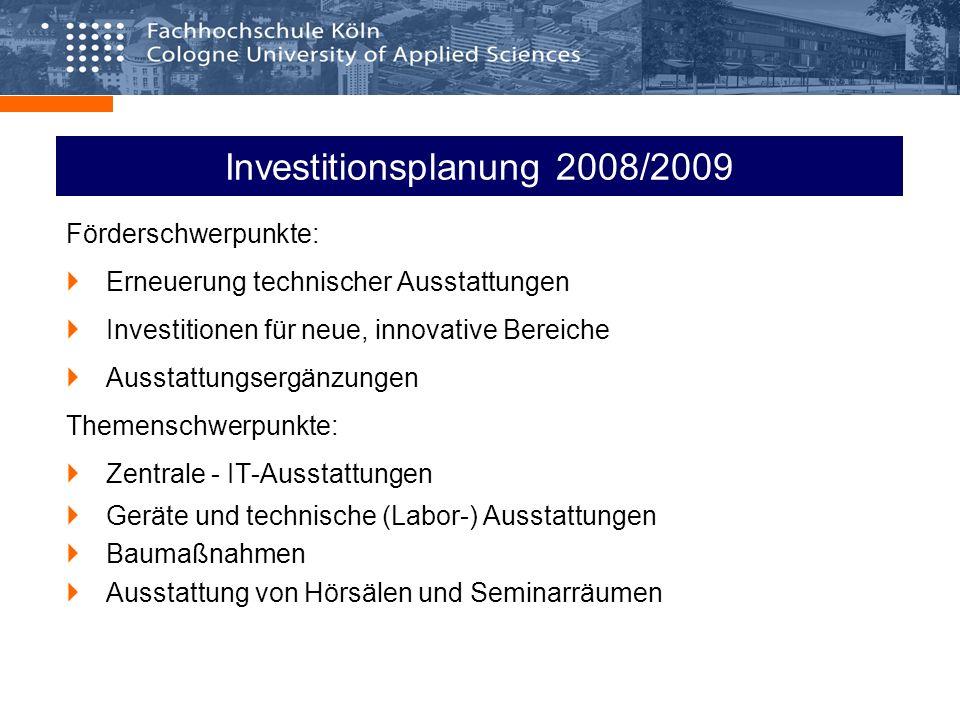 Investitionsplanung 2008/2009 Förderschwerpunkte: Erneuerung technischer Ausstattungen Investitionen für neue, innovative Bereiche Ausstattungsergänzungen Themenschwerpunkte: Zentrale - IT-Ausstattungen Geräte und technische (Labor-) Ausstattungen Baumaßnahmen Ausstattung von Hörsälen und Seminarräumen