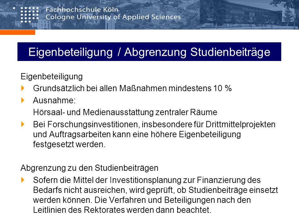 Antragsverfahren Antragsschluss für 2008 und 2009: 15.02.2008 (Eingang bei Frau Grunwald) Antragsunterlagen: Formular Investitionsplanung (von Antragstellenden auszufüllen) Gesamtfinanzierungs- und Prioritätenplan der Fakultät Verfahren/Voraussetzungen in den Fakultäten: Zustimmung der Fakultätsräte Festsetzung eindeutiger, fakultätsübergreifender Prioritäten Aufstellung der Investitionspläne der Fakultäten 2008/2009 einschl.