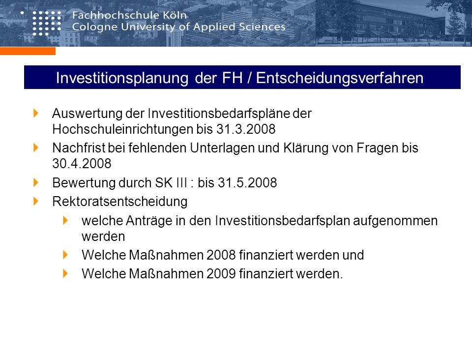 Investitionsplanung der FH / Entscheidungsverfahren Auswertung der Investitionsbedarfspläne der Hochschuleinrichtungen bis 31.3.2008 Nachfrist bei feh