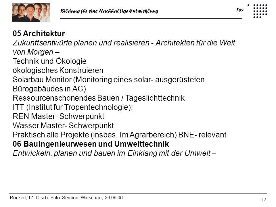 Bildung für eine Nachhaltige Entwicklung Rückert, 17. Dtsch- Poln. Seminar Warschau, 26.06.06 F09 12 05 Architektur Zukunftsentwürfe planen und realis