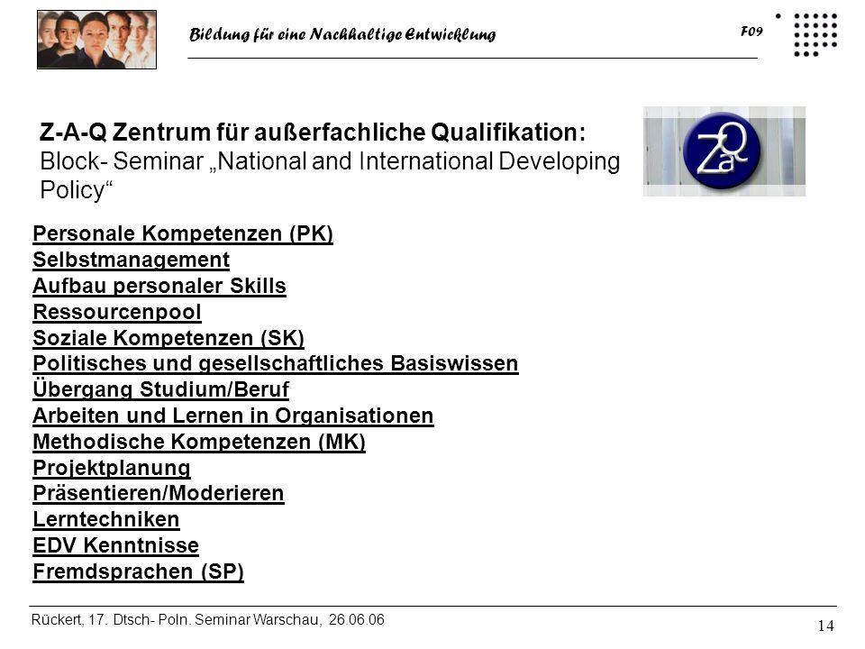Bildung für eine Nachhaltige Entwicklung Rückert, 17. Dtsch- Poln. Seminar Warschau, 26.06.06 F09 14 Z-A-Q Zentrum für außerfachliche Qualifikation: B