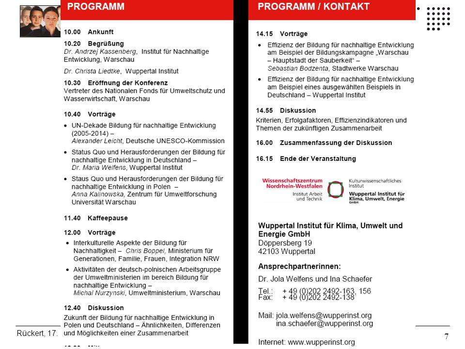 Bildung für eine Nachhaltige Entwicklung Rückert, 17. Dtsch- Poln. Seminar Warschau, 26.06.06 F09 7