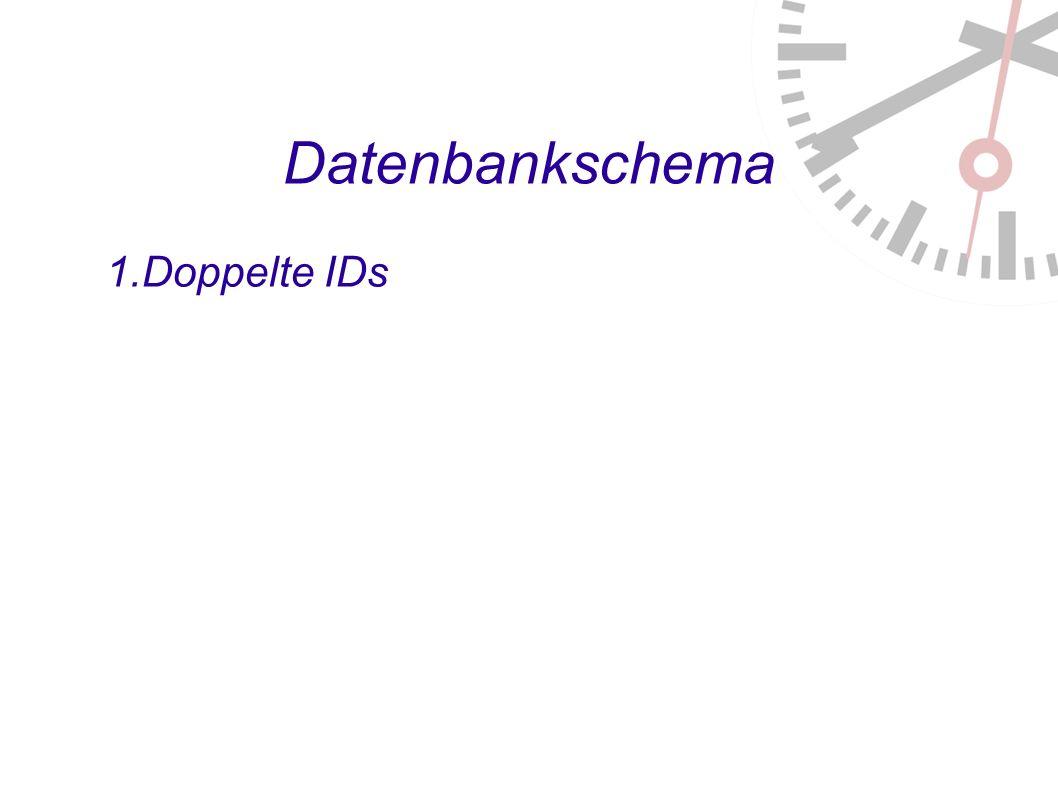 Datenbankschema 1. Doppelte IDs