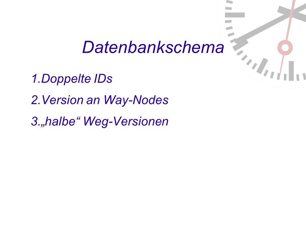 Datenbankschema 1. Doppelte IDs 2. Version an Way-Nodes 3. halbe Weg-Versionen