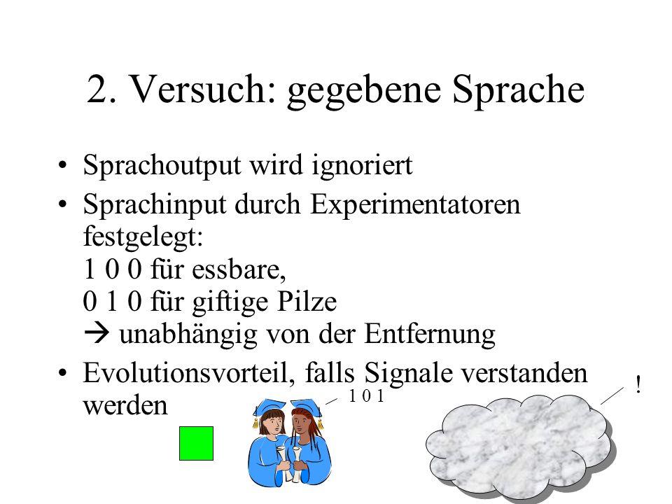 2. Versuch: gegebene Sprache Sprachoutput wird ignoriert Sprachinput durch Experimentatoren festgelegt: 1 0 0 für essbare, 0 1 0 für giftige Pilze una