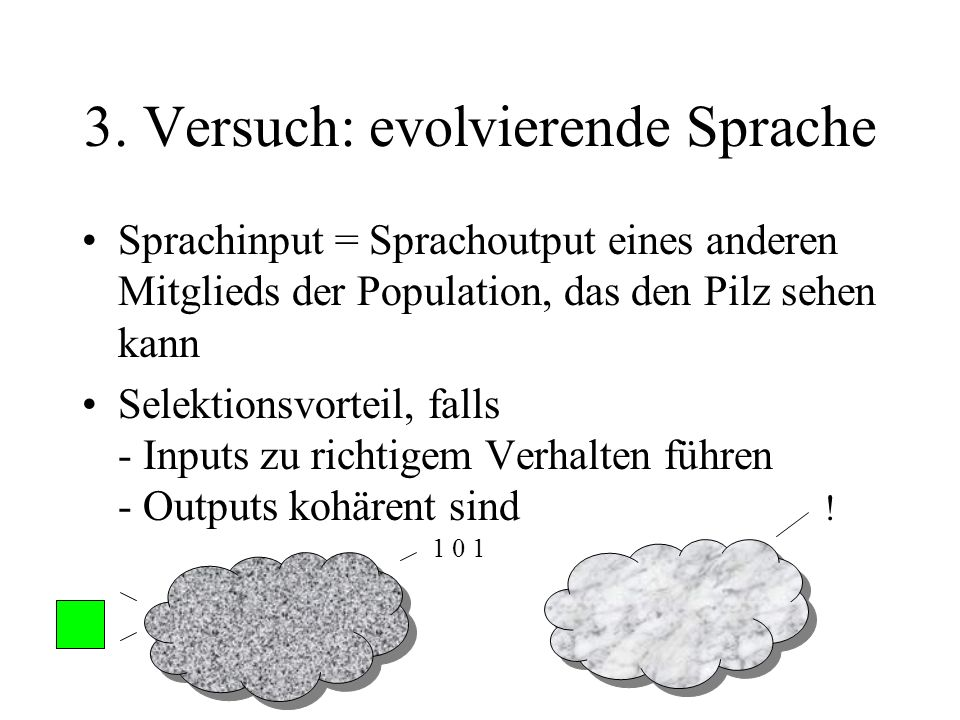 3. Versuch: evolvierende Sprache Sprachinput = Sprachoutput eines anderen Mitglieds der Population, das den Pilz sehen kann Selektionsvorteil, falls -