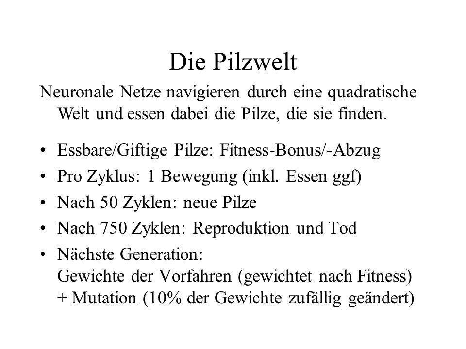 Die Pilzwelt Essbare/Giftige Pilze: Fitness-Bonus/-Abzug Pro Zyklus: 1 Bewegung (inkl. Essen ggf) Nach 50 Zyklen: neue Pilze Nach 750 Zyklen: Reproduk