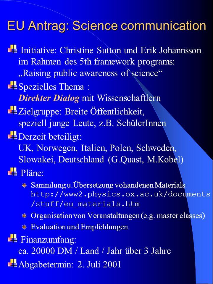 EU Antrag: Science communication Initiative: Christine Sutton und Erik Johannsson im Rahmen des 5th framework programs: Raising public awareness of science Spezielles Thema : Direkter Dialog mit Wissenschaftlern Zielgruppe: Breite Öffentlichkeit, speziell junge Leute, z.B.