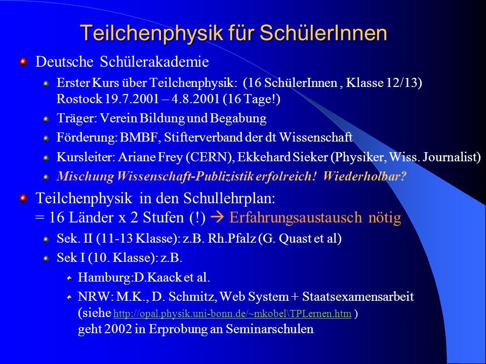 Teilchenphysik für SchülerInnen Deutsche Schülerakademie Erster Kurs über Teilchenphysik: (16 SchülerInnen, Klasse 12/13) Rostock 19.7.2001 – 4.8.2001