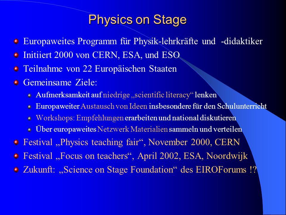Physics on Stage Europaweites Programm für Physik-lehrkräfte und -didaktiker Initiiert 2000 von CERN, ESA, und ESO Teilnahme von 22 Europäischen Staat