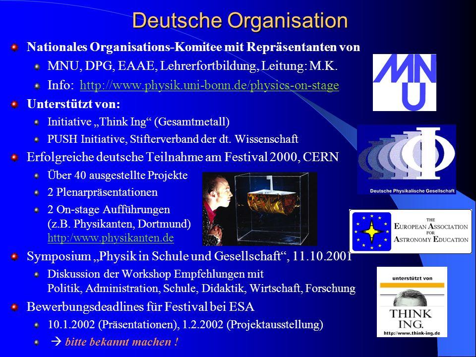 Deutsche Organisation Nationales Organisations-Komitee mit Repräsentanten von MNU, DPG, EAAE, Lehrerfortbildung, Leitung: M.K. Info: http://www.physik