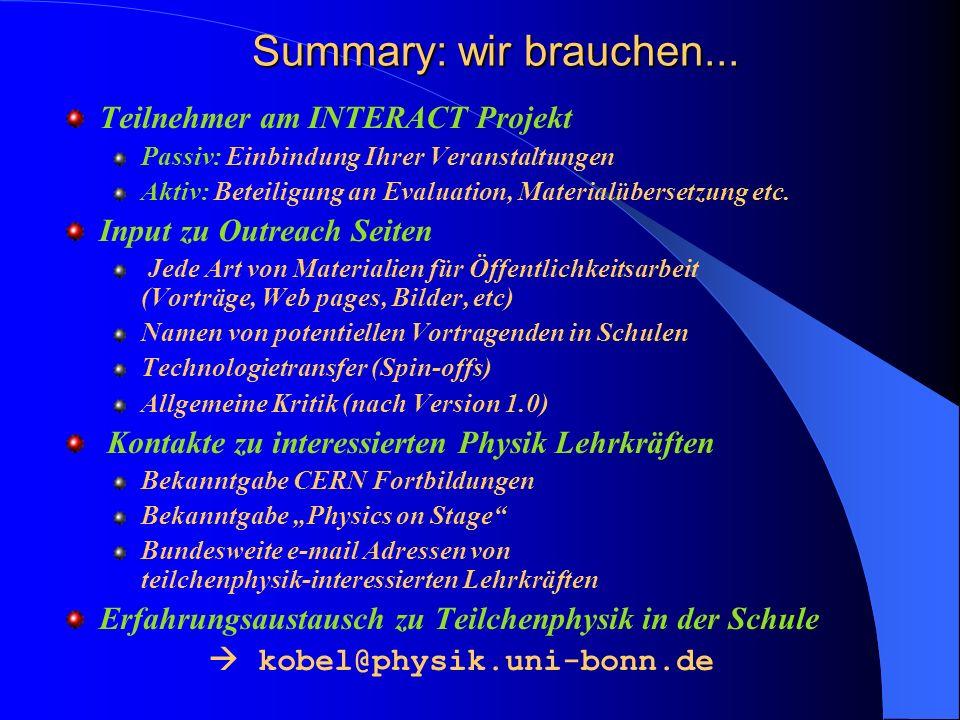 Summary: wir brauchen... Teilnehmer am INTERACT Projekt Passiv: Einbindung Ihrer Veranstaltungen Aktiv: Beteiligung an Evaluation, Materialübersetzung